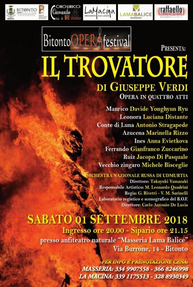 Il Trovatore è l'opera che chiude la quindicesima edizione del Bitonto Opera Festival
